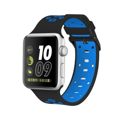 Ремешок для Apple Watch 38mm Nike silicone black/blue