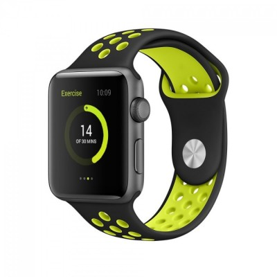 Ремешок для Apple Watch 38mm Nike silicone black/green